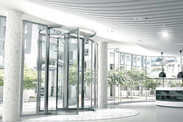 cửa kính  tự động Deustech xoay